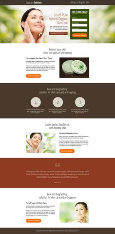 natural organic skin care leads responsive landing page design Best Landing Page Design, Best Landing Pages, Landing Page Builder, Skin Care Cream, Bright Skin, Skin Care Treatments, Organic Skin Care, Website Template, Web Design