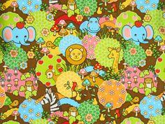 Kawaii Jungle animaux tissus tissus japonais par pinkowlfabric