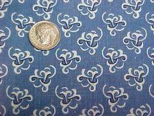 Vintage Antique Cotton Quilt Doll Fabric Print 1920s Remnant Blue White Design