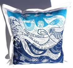 decorative art pillow/Life is beautiful/cushion cover/pillow cover/scatter cushion/sofa cushion/hand printed/linocut/blue and white/birds on Etsy, $45.00