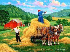 Het hooi op de kar By John Sloane Farm Art, Country Scenes, Illustration, Country Art, Country Life, Naive Art, Summer Art, Beautiful Paintings, Oeuvre D'art