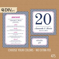 PRINTABLE Wedding Set: Wedding Menu, Table Numbers, Place Cards - navy and hot pink, fuchsia or any color by DIVart, $24.00