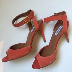 Salmon color suede stiletto heels Salmon colored suede strapy stilettos. Worn once. Like new. No spots or marks. Still in box. Steve Madden Shoes Heels