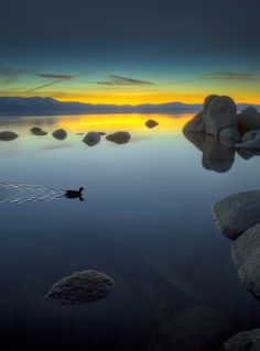 ~~Lake Tahoe After Sunset ~ Zephyr Cove, Nevada by Mark Lissick~~ Beautiful Sky, Beautiful Landscapes, Beautiful World, Beautiful Places, Wonderful Places, Zen Meditation, Amazing Sunsets, Amazing Nature, Lago Tahoe