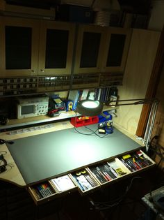 My electronic workbench with the custom made drawers showing initial tool storage.