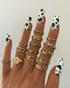 The online destination for bohemian jewellery Tiger Nails, Cow Nails, Aycrlic Nails, Edgy Nails, Cute Acrylic Nail Designs, Best Acrylic Nails, Halloween Acrylic Nails, Simple Acrylic Nails, Square Acrylic Nails
