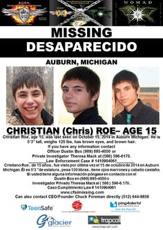 10/15/2014: Christian Roe, age 15, is #missing from Auburn, Michigan.