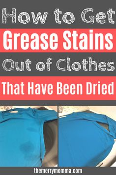 Set-in grease stains are frustrating, and they're hard to catch! Here's how to get grease stains out of clothes that have been washed and dried. Diy Home Cleaning, Homemade Cleaning Products, Household Cleaning Tips, House Cleaning Tips, Natural Cleaning Products, Cleaning Hacks, Natural Cleaning Recipes, Cleaning Supplies, Grease Stains