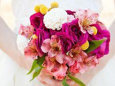Pink alstroemeria bridal wedding bouquet.