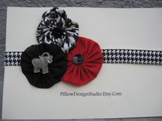 Alabama baby headband -- houndstooth head band for babies, girls with elephant, black, red houndstooth fabric flowers -- Alabama football. $7.49, via Etsy.