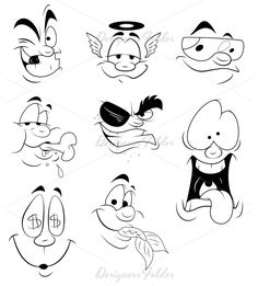 Cartoon Faces Vectors