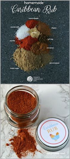 Homemade Caribbean Rub recipe - Let's kick it up a notch! This homemade grilling rub is great on chicken and shrimp. Makes a great diy gift idea for Father's Day, or the holidays for the griller in your family. Homemade Spices, Homemade Seasonings, Homemade Grill, Snacks Homemade, Dry Rub Recipes, Meat Rubs, Caribbean Recipes, Caribbean Food, Caribbean Chicken
