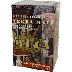 Flora, Bija, Yerba Mate, Energizing Herbal Tea, 20 Tea Bags, 1.7 oz (48 g) - iHerb.com. Bruk gjerne rabattkoden min (CEC956) hvis du vil handle på iHerb for første gang. Da får du $5 i rabatt på din første ordre (eller $10 om du handler for over $40), og jeg blir kjempeglad, siden jeg får poeng som jeg kan handle for på iHerb. :-)