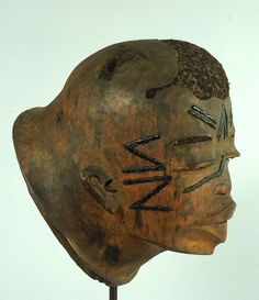 """Mozambique andTanzania;Makondepeoples Mask Wood, beeswax, hair H. 25.4 cm (10"""")"""