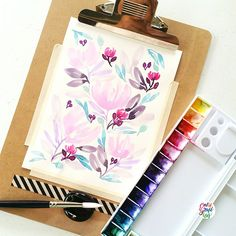 Let's try pastel this time #calligrafikas #watercolor   Paper: Calligrapads wateecolor paper sampler Paint: Dr. Ph Martin's radiant concentrated watercolors Brush: Pebeo round no 14