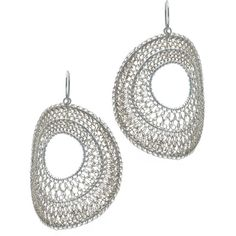 Crocheted STERLING SILVER HOOPS Jewellery Online Store Silver Chamber ($47) ❤ liked on Polyvore featuring jewelry, silver jewellery, macrame jewelry, sterling silver jewelry, silver jewelry and crochet jewelry