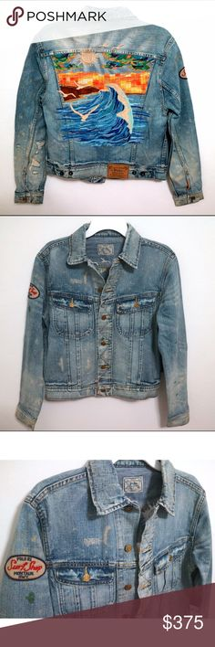 Polo Ralph Lauren Big Sur Embroidered Denim Jacket Brand new with tags, men's size Small. Can also be worn oversized for a women, probably can fit up to a women's Medium. Retails for $495! This Polo Ralph Lauren Big Sur Embroidered Trucker Denim Jean Jacket is truly a piece of art! Intricate & beautiful embroidery of the beaches and cliffs of Big Sur, complete with a glowing sun and birds! This distressed truck denim jacket has a patch on the arm, and faded & distressed in all the right…