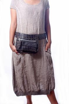 Crocodile  Leather Hip Bag, bum bag, fanny pack, travel pouch, belt pocket