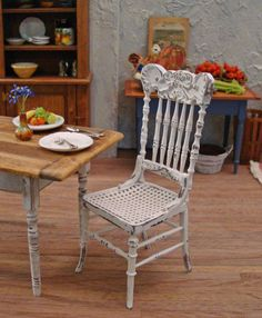 Shabby White Pressback Chair 1/12 Scale by WestonMiniature on Etsy, $36.00