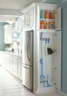 New Smart Kitchen Storage Space Saving Cabinets Ideas Tiny House Storage, Laundry Room Storage, Cupboard Storage, Kitchen Storage, Kitchen Decor, Kitchen Ideas, Laundry Rooms, Smart Storage, Storage Ideas
