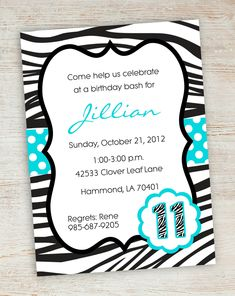 Free Printable Zebra Party Invitations | Printable Pink Turquoise Zebra Polka Dot Girly Girl Birthday Party ...