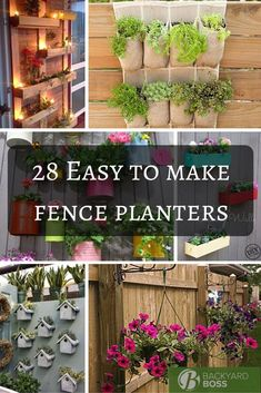 Fence planters are one of the best ways to brighten up a backyard and bring the colors of flowers and shrubs up from the ground and at eye level. It can really bring a garden to life and is a great way to add some personality to your backyard. Some people, those handy dandy ones, can whip up homemade planters from just about nothing while others prefer to purchase pre made ones. Regardless of what you choose, these 28 awesome and unique fence planters are sure to inspire!  28 Super Unique And... Diy Garden Fence, Fence Planters, Garden Shrubs, Pallets Garden, Diy Planters, Herb Garden, Vegetable Garden, Garden Landscaping, Diy Backyard Fence
