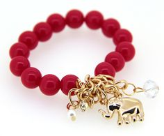 Stylish Korean Rose Red Handmaking Elephant Pendant Alloy and Crystal Ornaments for Girls