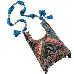 Aqua Blue embroidery bag.