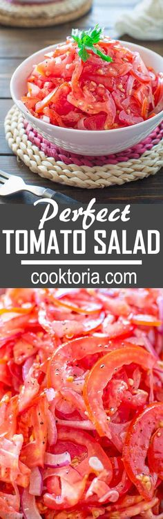Absolutely scrumptious and so simple to make this Perfect Tomato Salad makes a great side dish to almost any meal. Save this fresh, healthy, low-calorie Uzbek tomato salad recipe, because you'll want to use it again and again! Tomato Salad Recipes, Vegetable Recipes, Vegetarian Recipes, Cooking Recipes, Healthy Recipes, Vegan Vegetarian, Tomato Recipe, Flour Recipes, Healthy Dishes