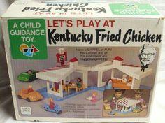 Kentucky Fried Chicken Restaurant Playset by Child Guidance, Childhood Toys, Childhood Memories, Vintage Ads, Vintage Prints, Vintage Items, Child Guidance, Chicken Toys, Kentucky Fried, Thing 1
