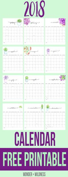 Calendar 2018 Printable 12 Free Monthly Designs to Love - free calendar printable