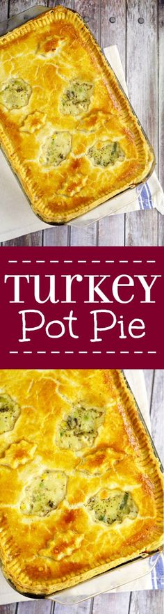 The BEST way to use up leftover turkey is this homemade Turkey Pot Pierecipe with creamy comfort food pot pie filling, turkey, vegetables, and golden flaky crust. Great for a delicious family dinner recipe. Mmmm... Looks delicious!