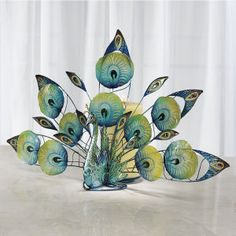 Capiz Peacock Candleholder - Furniture, Home Decor and Home Furnishings, Home Accessories and Gifts | Expressions