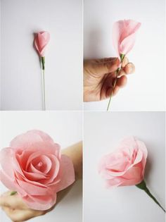 Paper roses. Make these with the pages of a book