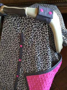 Baby Car Seat Cover Gray Cheetah with Hot Pink by kitcarsonblue