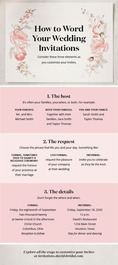 Engagement Rings Wondering how to word your wedding invitations? Consider who's hosting and how formal your celebration will be. See more ideas in our full how-to guide at davidsbridal.com.