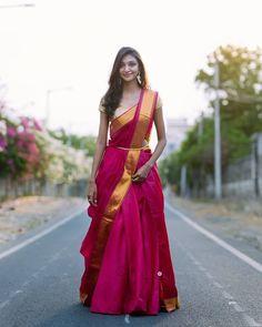 Give It The Lehenga-Saree Look How about revamping your entire sare Lehenga Saree Design, Half Saree Lehenga, Lehnga Dress, Saree Look, Bridal Lehenga, Saree Wedding, Plain Lehenga, Banarasi Lehenga, Red Saree