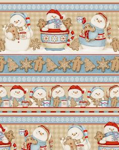 Today - Cocoa & Cookies Flannel Christmas Fabric - Snowman Flannel Stripe…