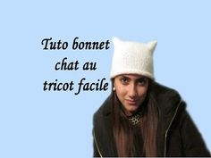 (22) TUTO BONNET FEMME OREILLES DE CHAT AU TRICOT FACILE hat for woman in cat ears easy knitting - YouTube