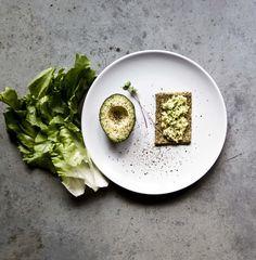 raw bread with avocado