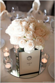 Simple yet elegant and classy. I love this except the bouquet could be a little smaller so that the guests can se each other from across the table.