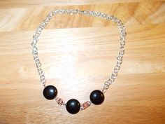 Handmade chain and black agate necklace