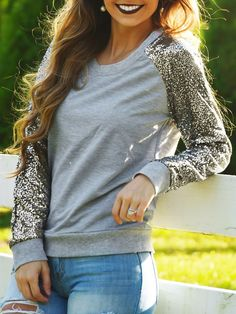 Shop Grey Sequined Long Sleeve Sweatshirts online. SheIn offers Grey Sequined Long Sleeve Sweatshirts & more to fit your fashionable needs.