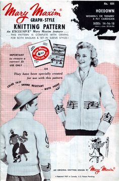 Vintage Mary Maxim Hoedown knitting pattern. #vintage #square_dancing #knitting #patterns #sweaters
