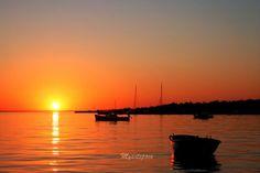 CLEARANCE SALE Orange Golden Sunset, Boats Sunset seascape print, Fine Art Photography, Boats at sunset, Croatian Sunset, Nature, 8 x 12''