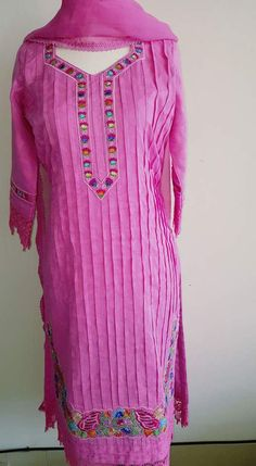 Pretty Pink Cotton Suit with Machine Embroidery