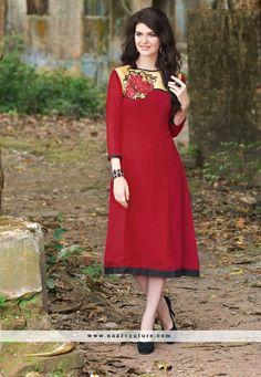 Ruritanian Red Georgette Party Wear Kurti