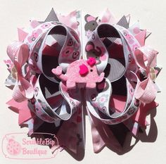 Sweet Elephants Stacked Boutique Bow