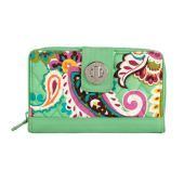 "Vera Bradley Turn Lock Wallet in Tutti Frutti SKU #12906140  | 7 ¾"" x 4 ¾"" Six card slots, a bill/coupon slip pocket and two ID windows inside the turn-lock compartment Inside the zippered compartment, six more card slots, a full slip pocket and two divided, gusseted areas to keep everything organized On the back, a gusseted slip pocket Spot Clean Only"