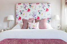 Wow, I could update the guest room, but a board, batting, and crazy fabric?  Transitional Bedroom by Town House Interiors